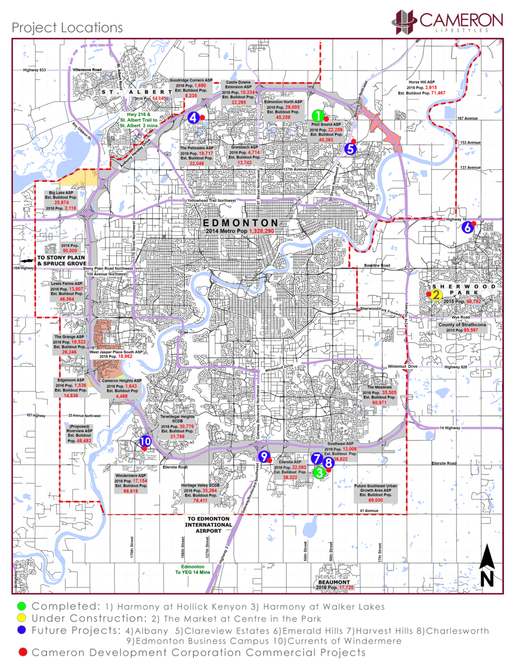 Map of all property project locations in Edmonton and surrounding area